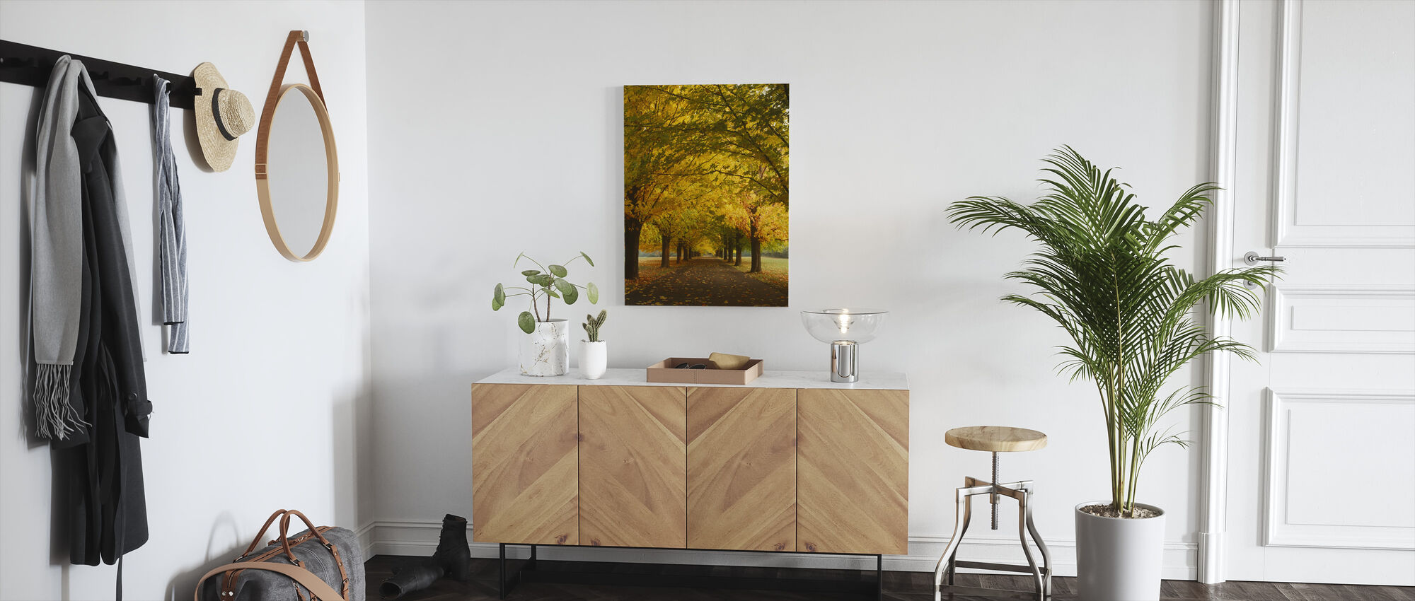 Yellow Sugar Maple Alley - Canvas print - Hallway