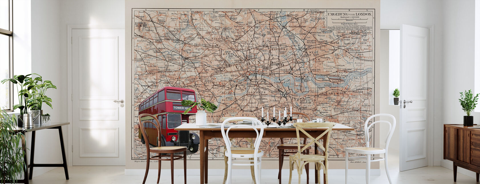 London Map with Bus - Wallpaper - Kitchen