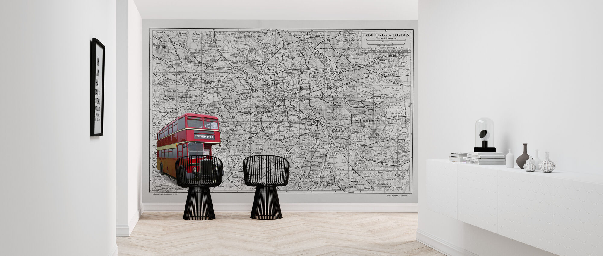 London Map with Bus - Colorsplash - Wallpaper - Hallway