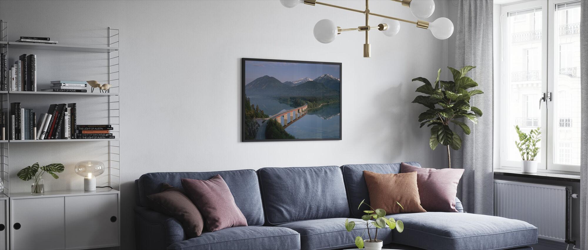 Bridge over Lake Sylvenstein - Framed print - Living Room