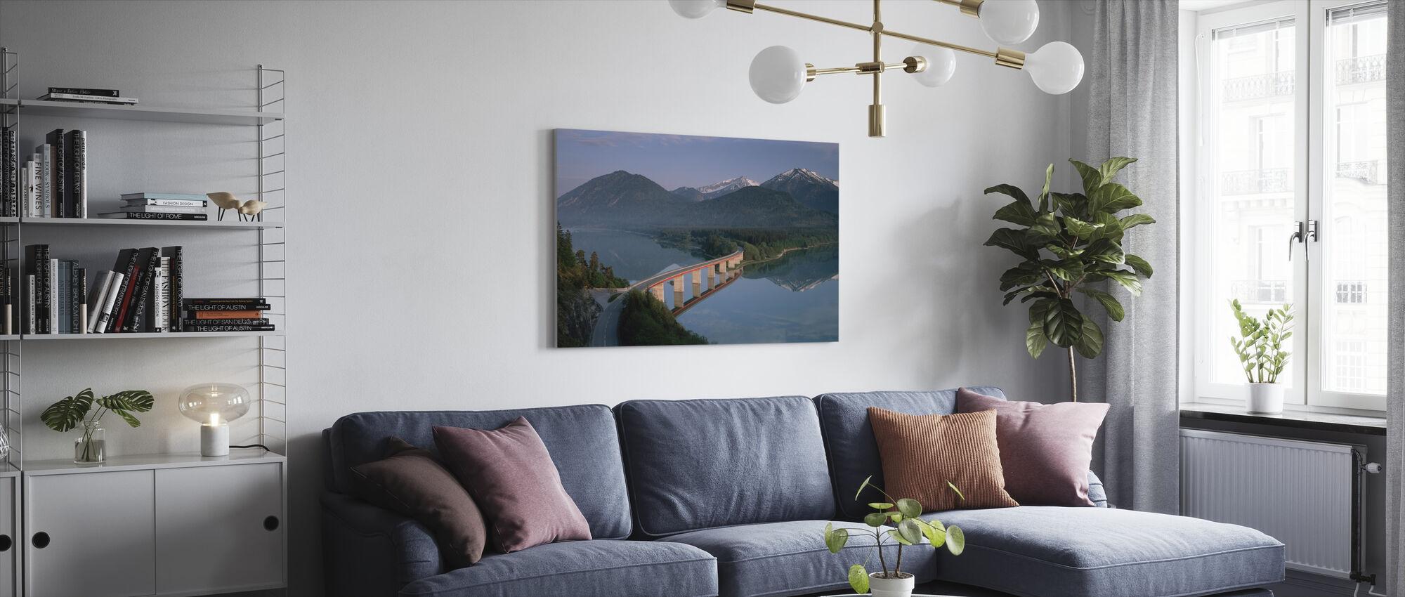 Bridge over Lake Sylvenstein - Canvas print - Living Room