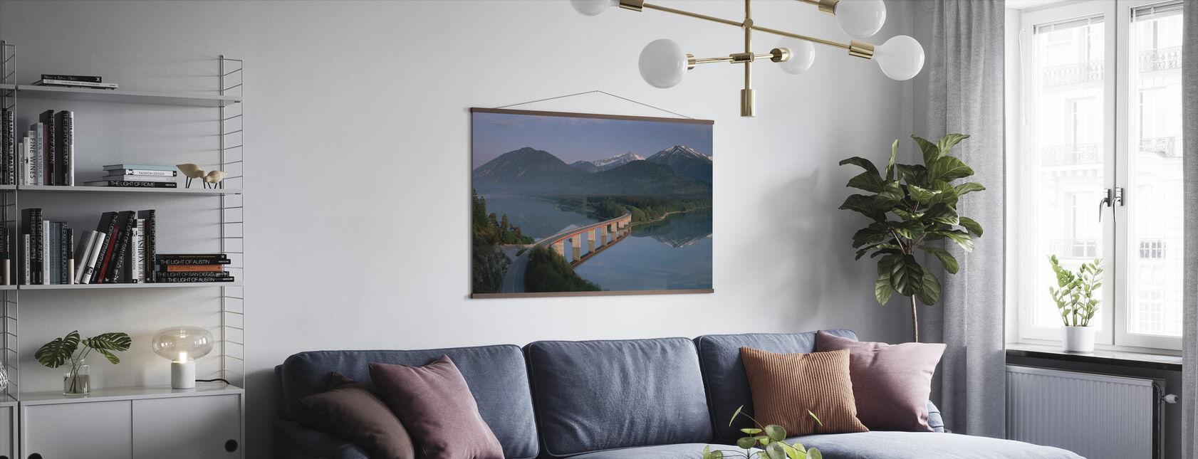 Bridge over Lake Sylvenstein - Poster - Living Room