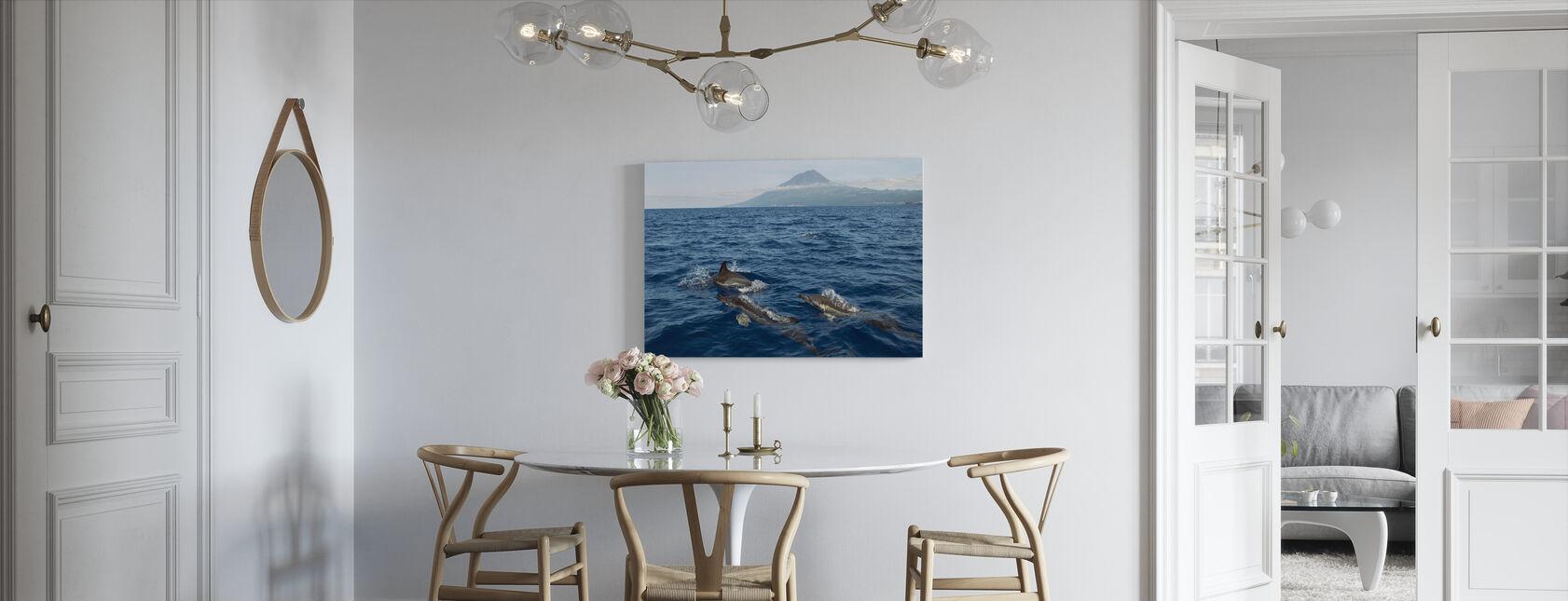 Delfiny na Azorach - Obraz na płótnie - Kuchnia