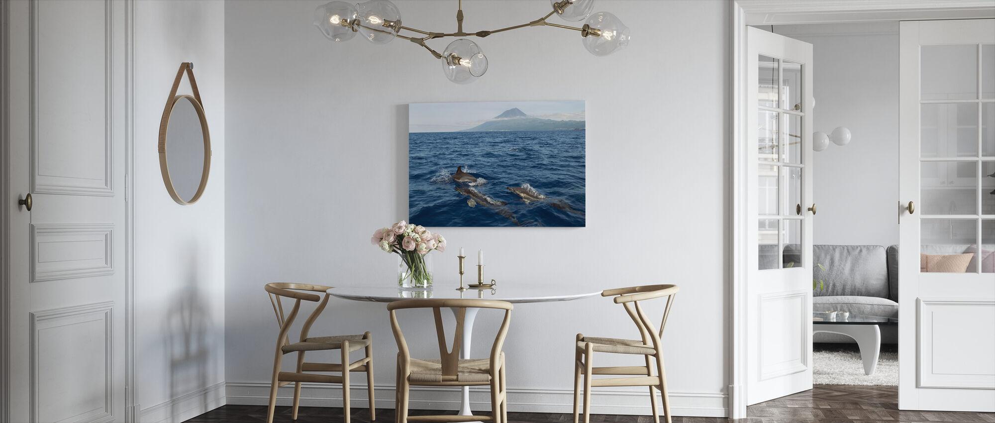 Dolfijnen op de Azoren - Canvas print - Keuken
