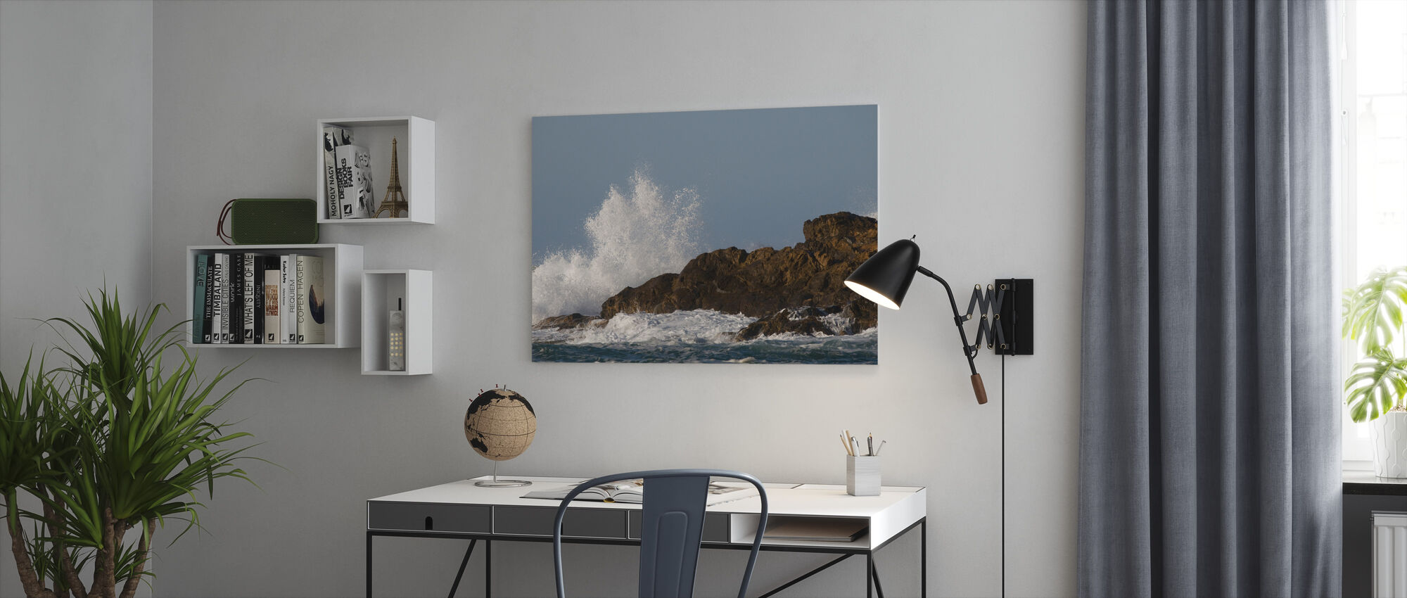 Wave Breaking over Rock - Canvas print - Office