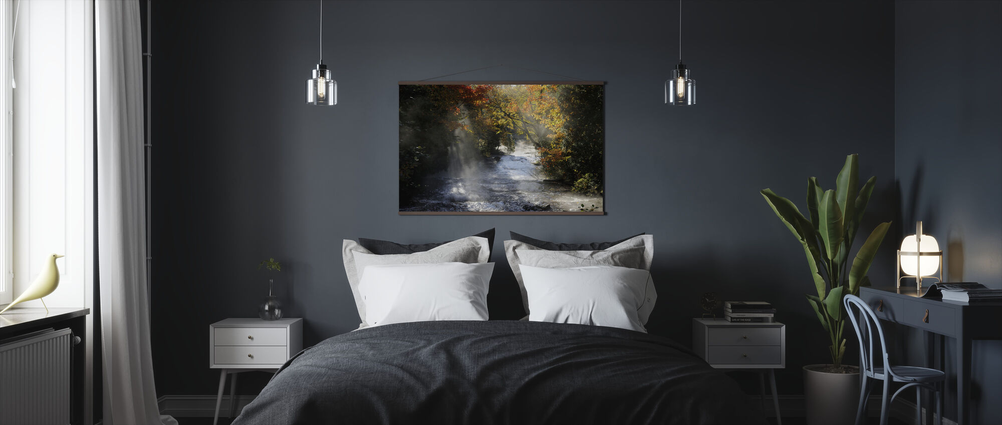 Waterfall with Autumn Colors - Poster - Bedroom