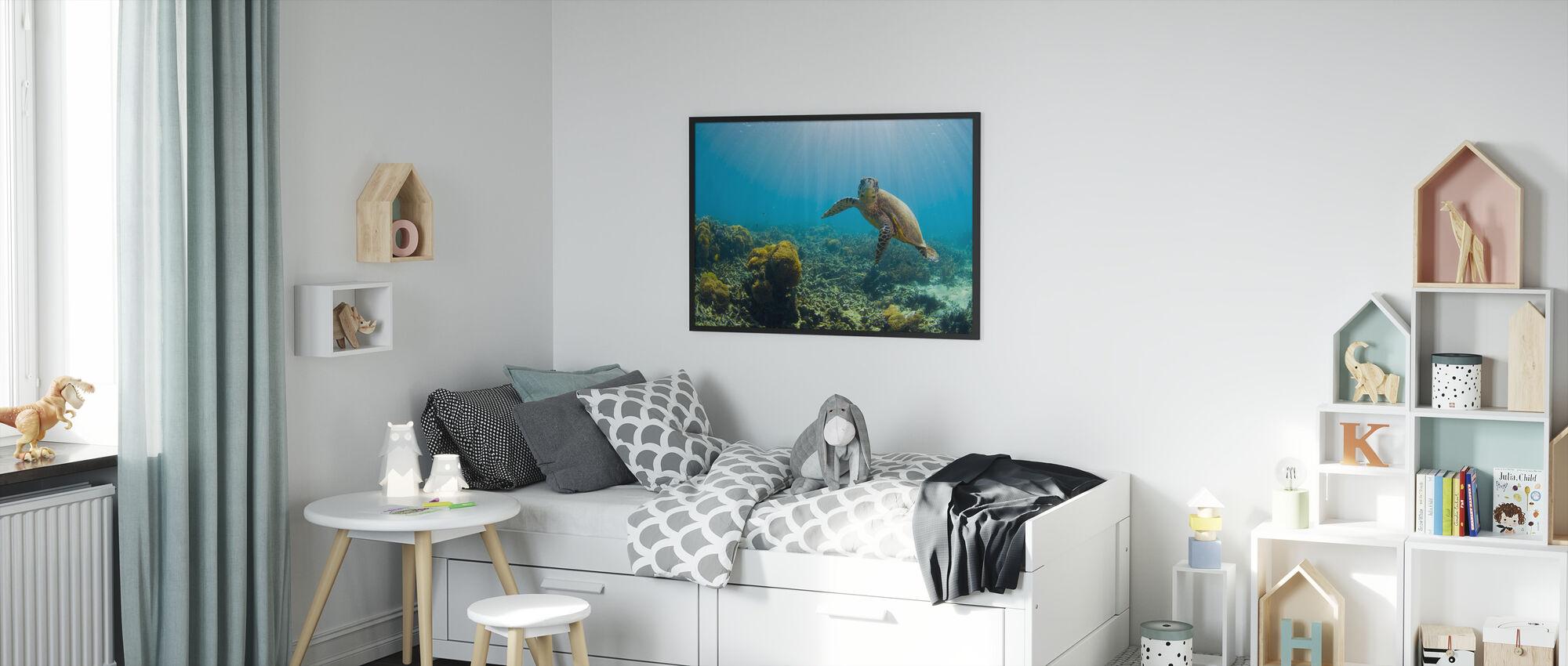 Sjarmerende Turtle - Innrammet bilde - Barnerom