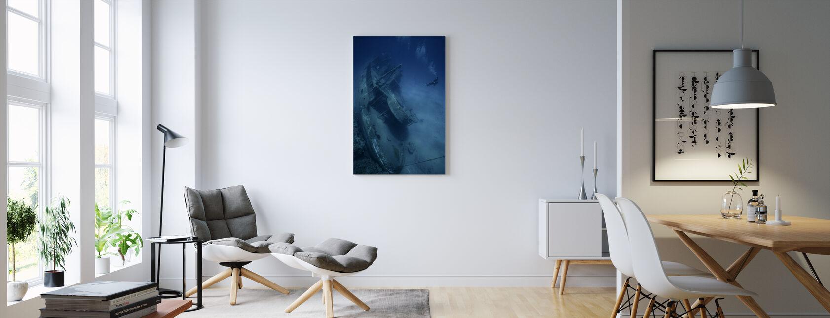 Shipwreck and Diver - Canvas print - Living Room