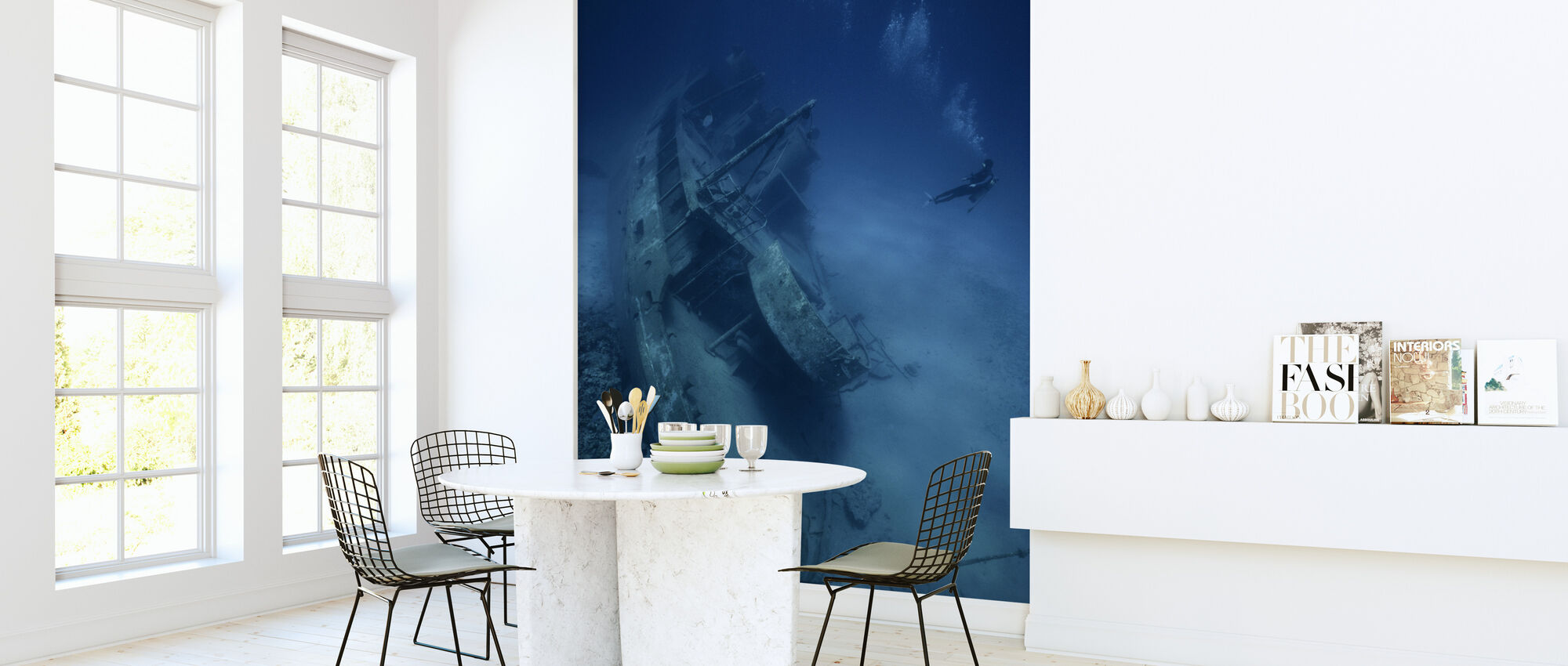 Shipwreck and Diver - Wallpaper - Kitchen