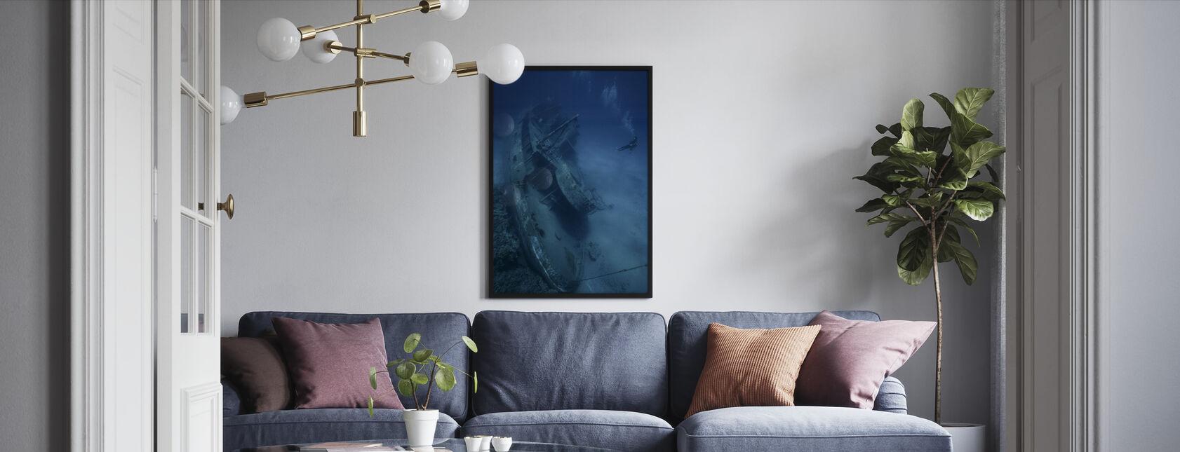 Haaksirikko ja sukeltaja - Kehystetty kuva - Olohuone