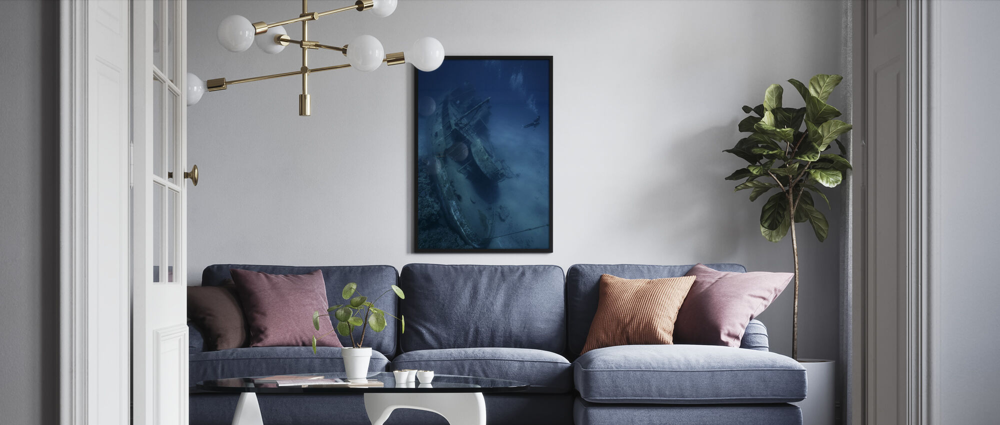 Shipwreck and Diver - Framed print - Living Room