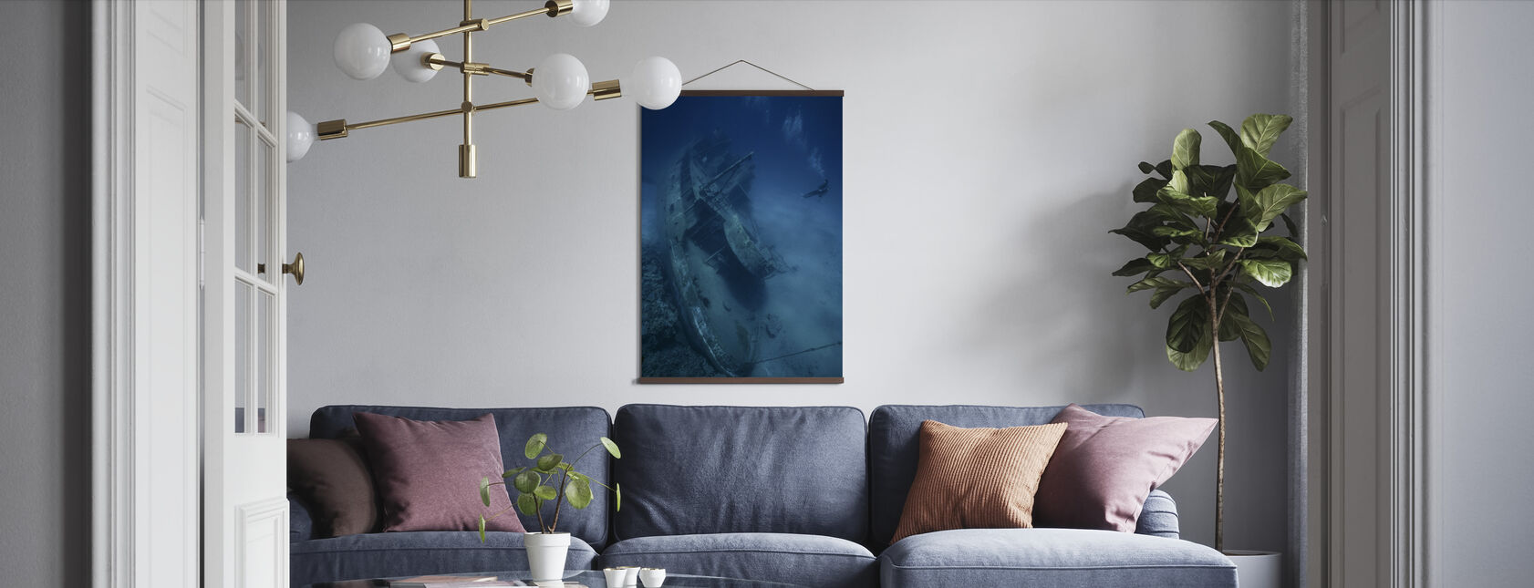 Shipwreck and Diver - Poster - Living Room