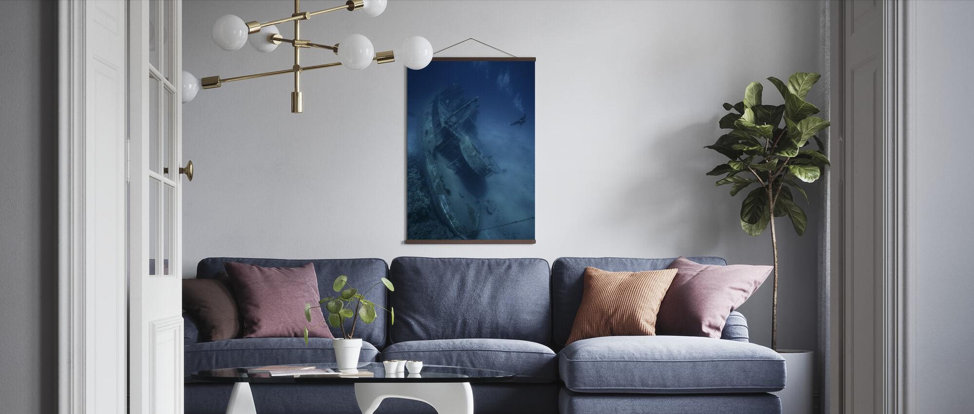 Skibsvrag og dykker - Plakat - Stue