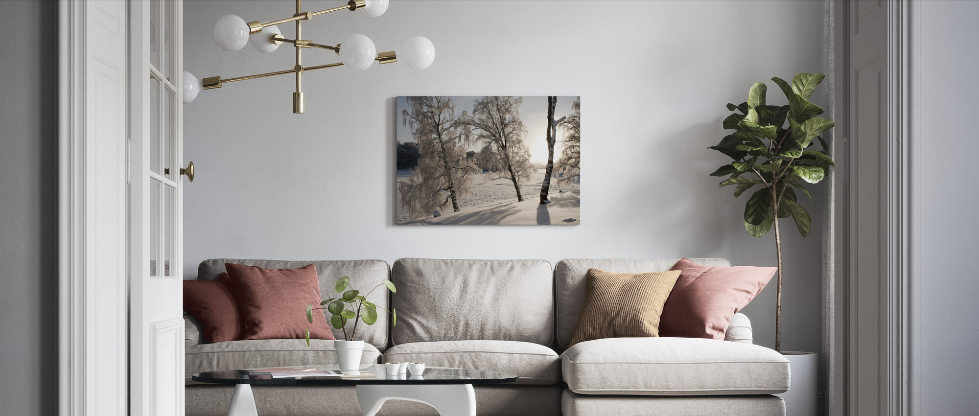 Schneebedeckte Silberbirken - Leinwandbild - Wohnzimmer