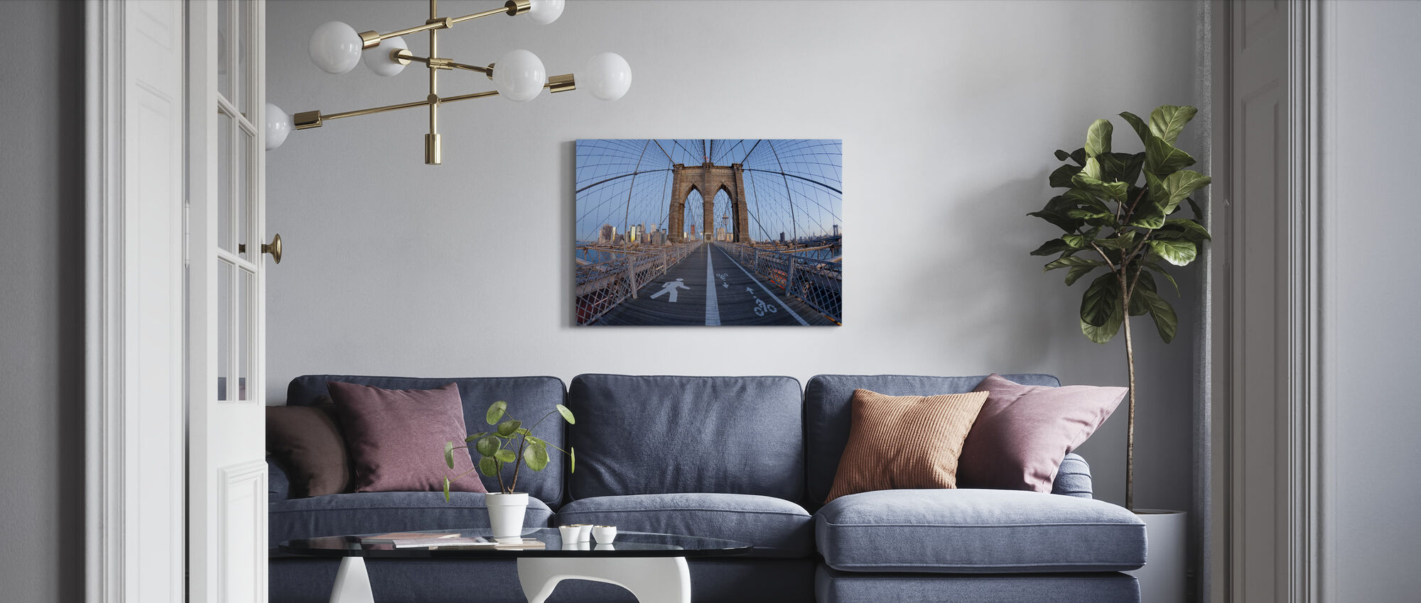 Brooklyn Bridge Walkway - Canvas print - Woonkamer