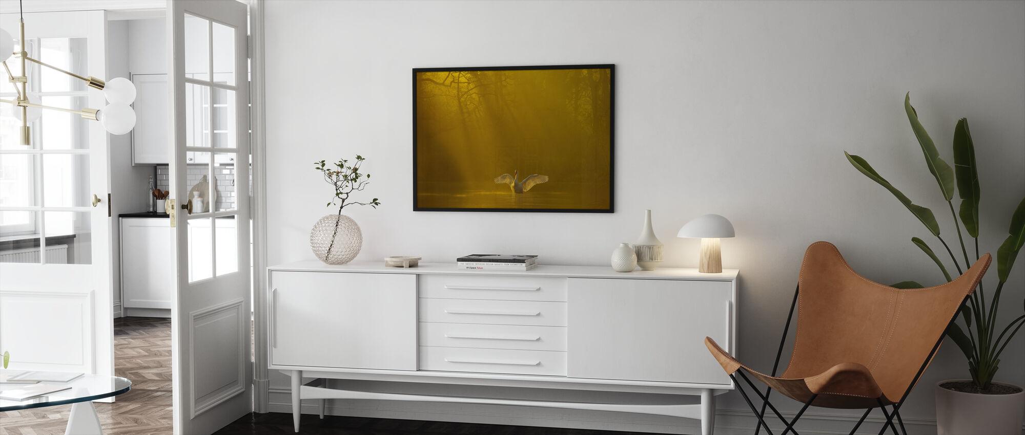 Golden Swan Lake - Framed print - Living Room