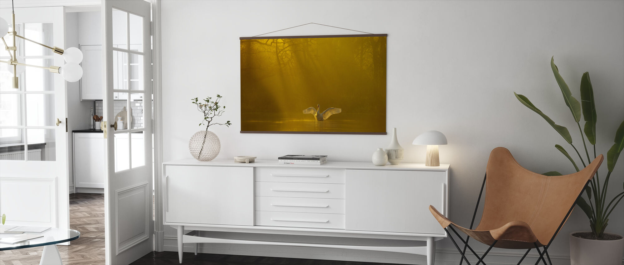 Golden Swan Lake - Poster - Living Room