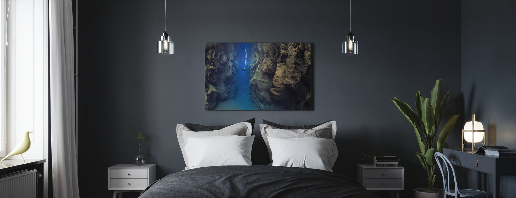 Diver Between Tectonic Plates - Canvas print - Bedroom