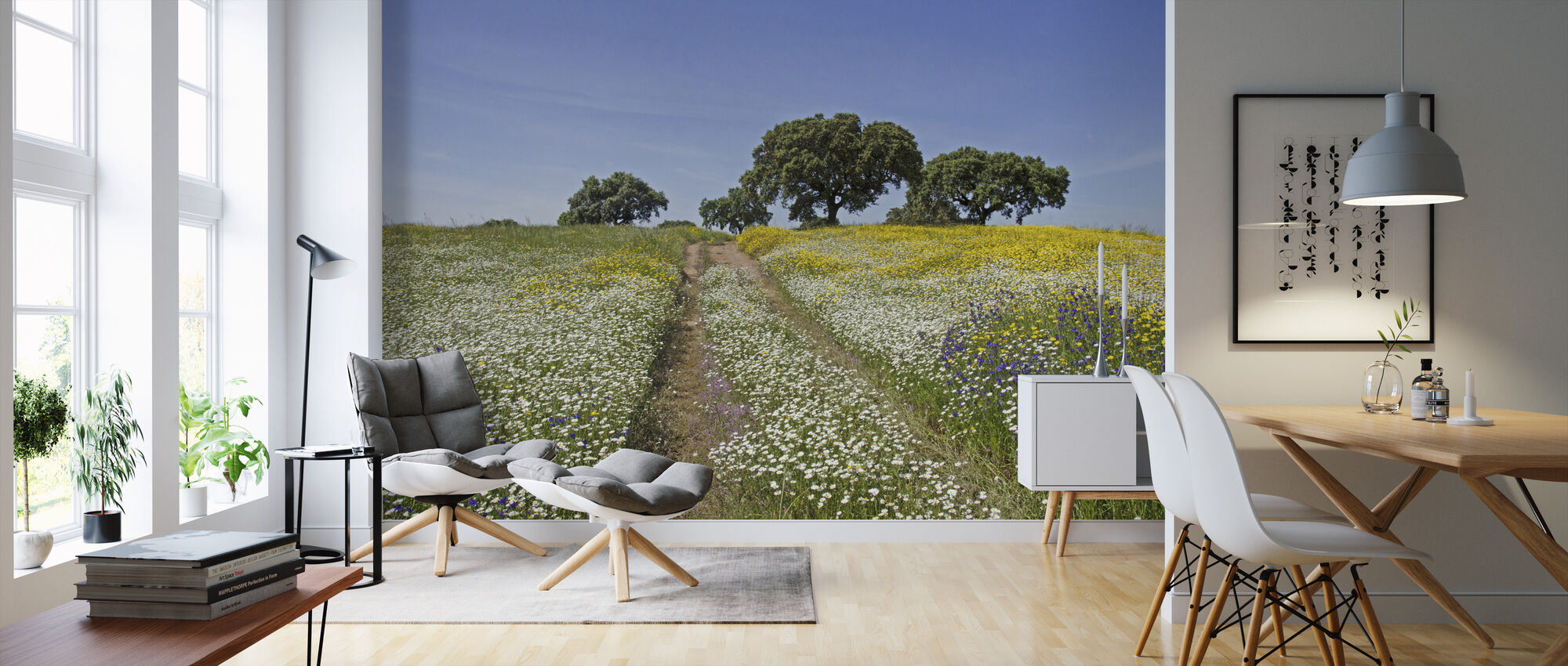 Cork Oaks and Flowering Meadow - Wallpaper - Living Room