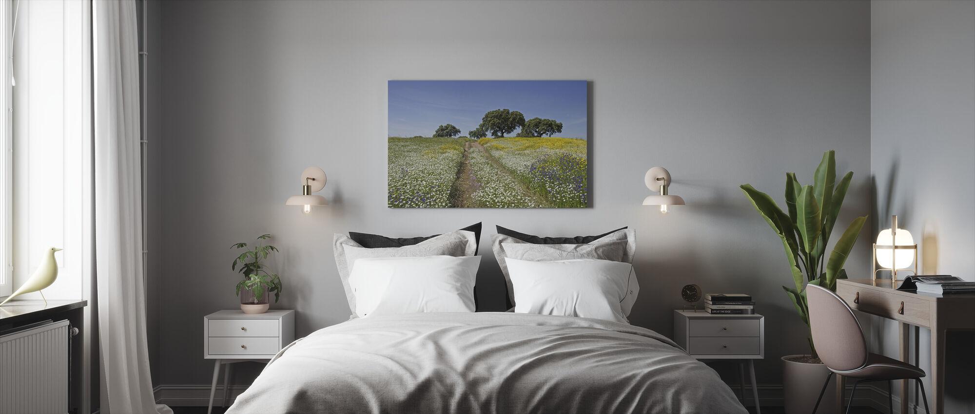 Cork Oaks and Flowering Meadow - Canvas print - Bedroom