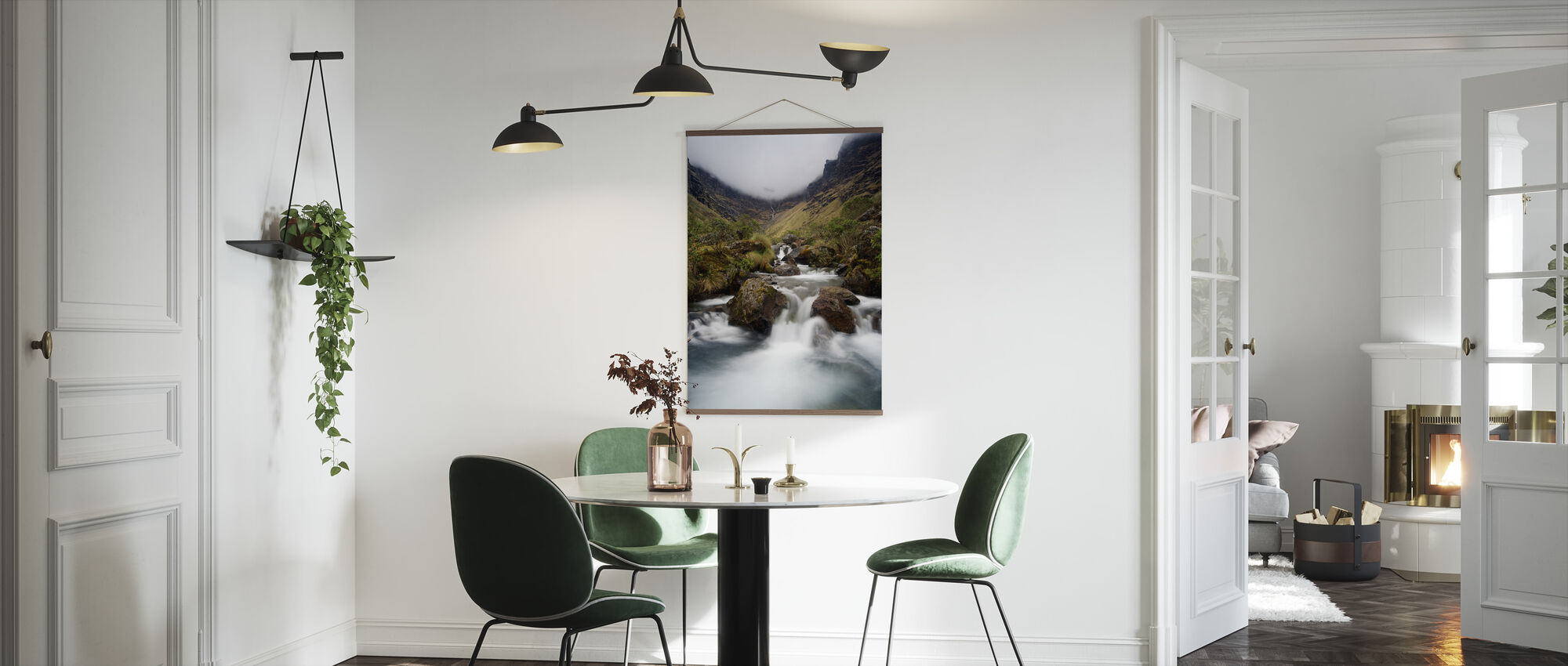 Cloudy Mountain Waterfall - Poster - Kitchen