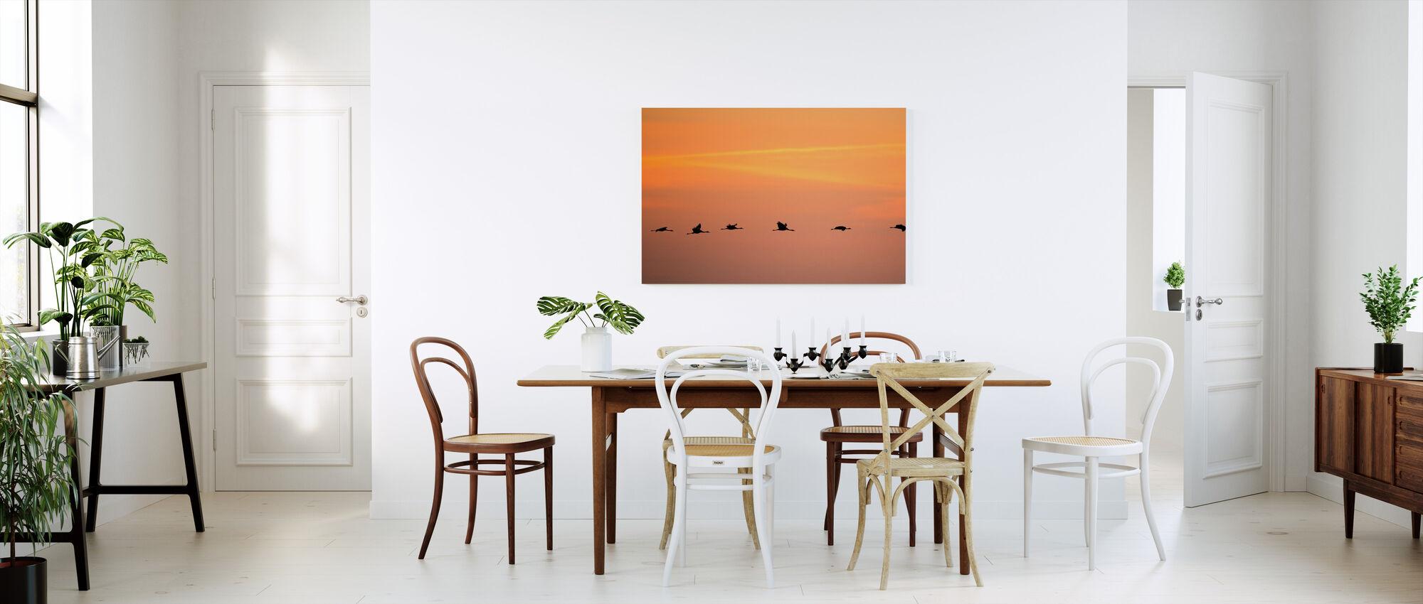Cranes in Sunrise - Canvas print - Kitchen
