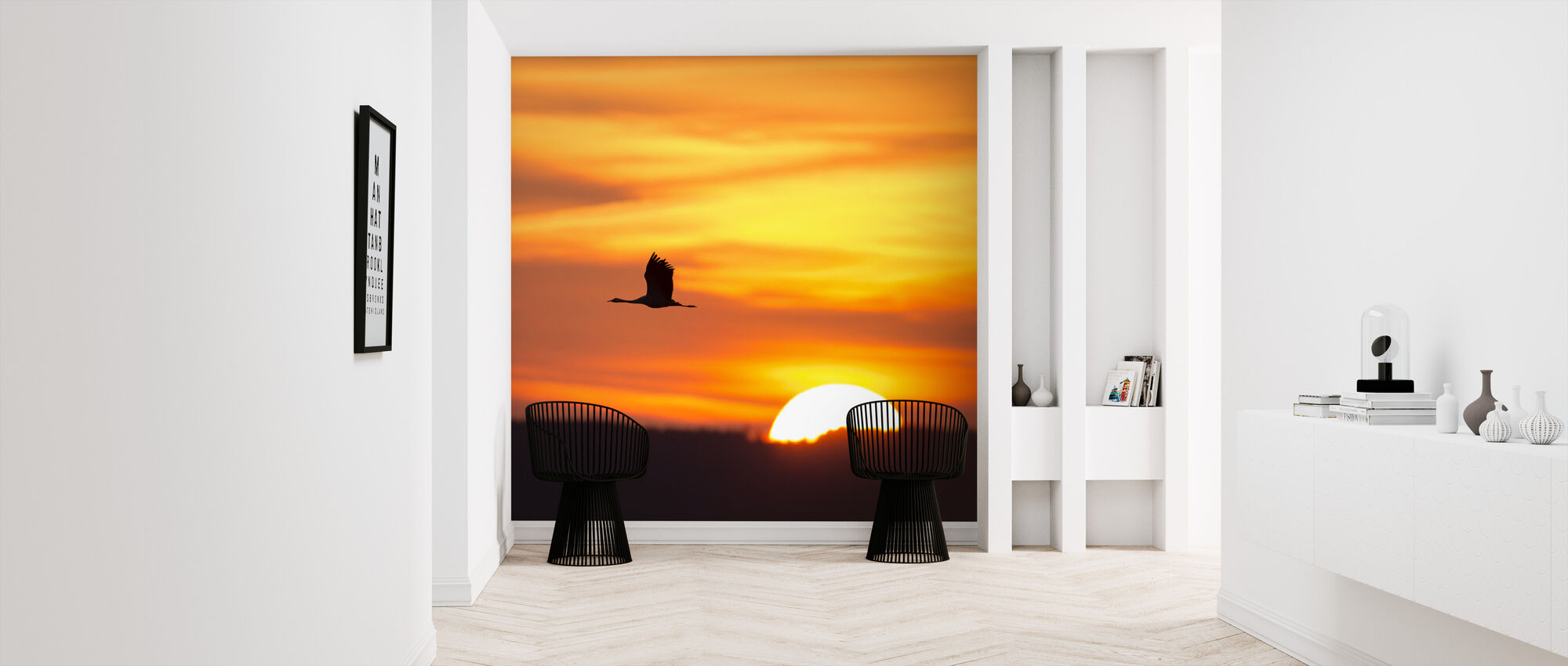 Crane and a Beautiful Sunrise - Wallpaper - Hallway