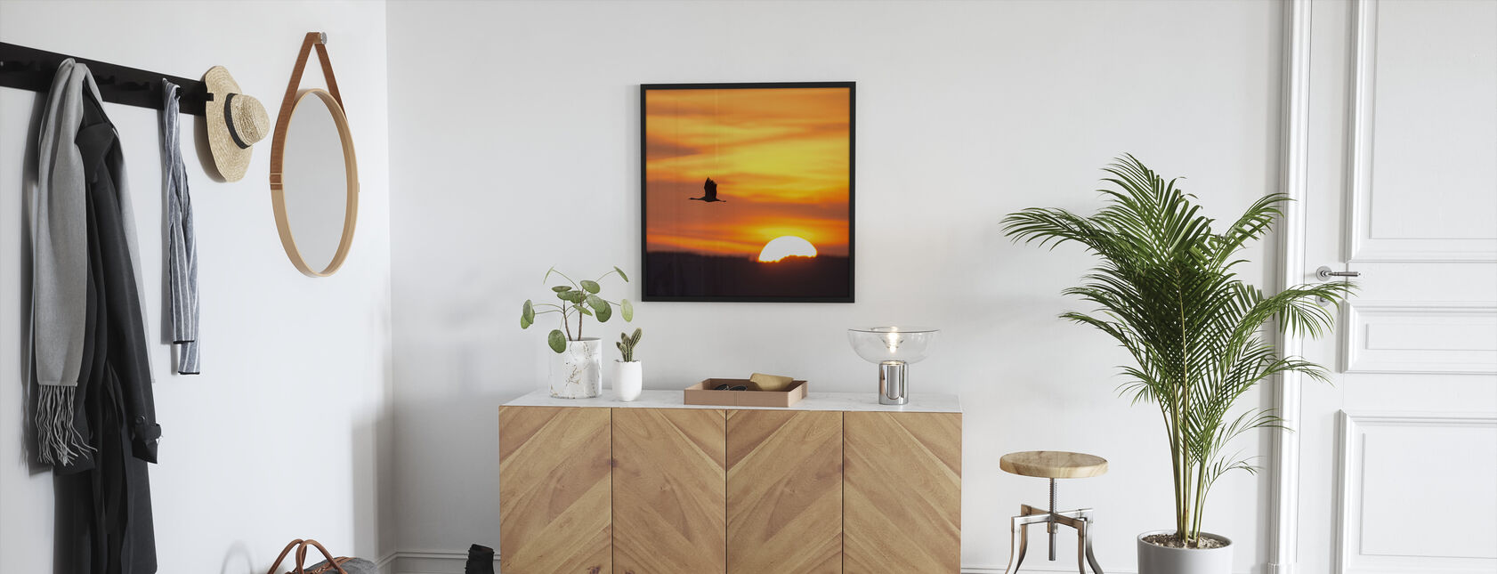 Crane and a Beautiful Sunrise - Framed print - Hallway