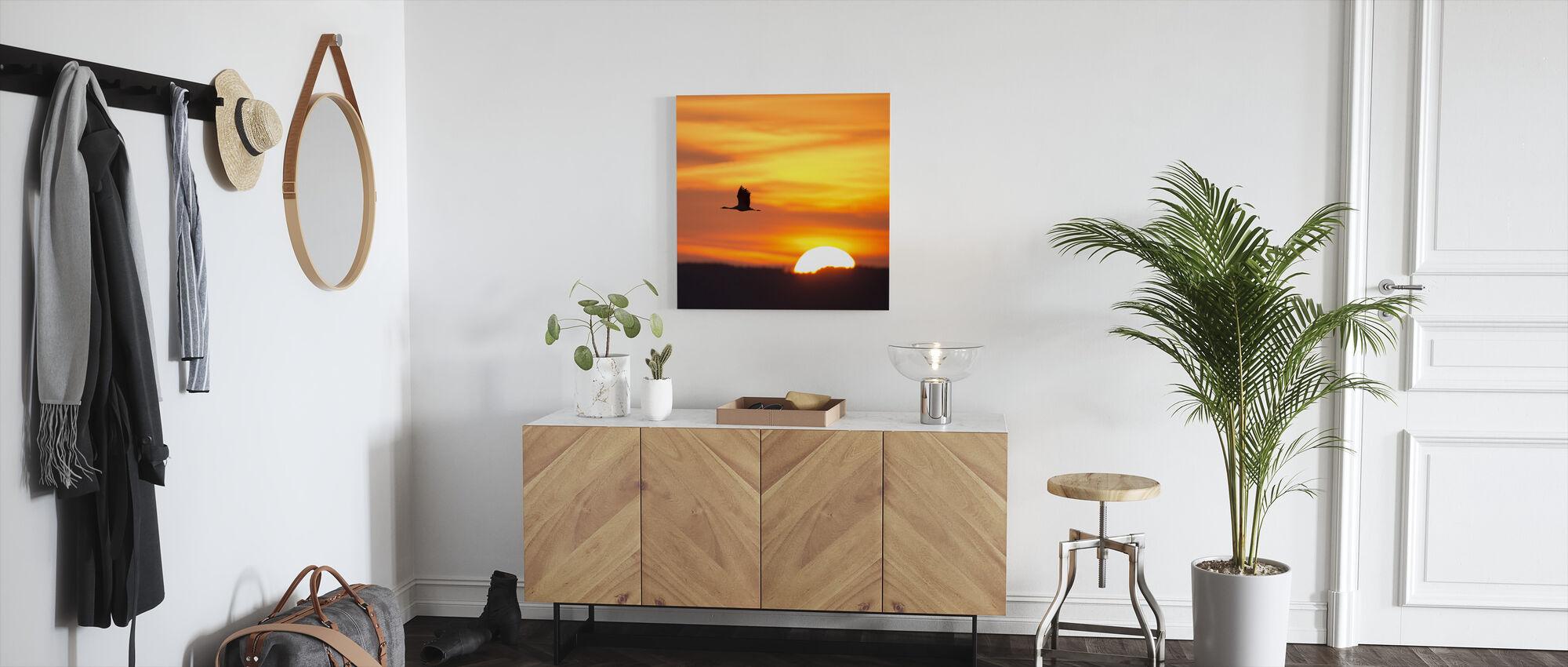 Kraan en een mooie zonsopgang - Canvas print - Gang