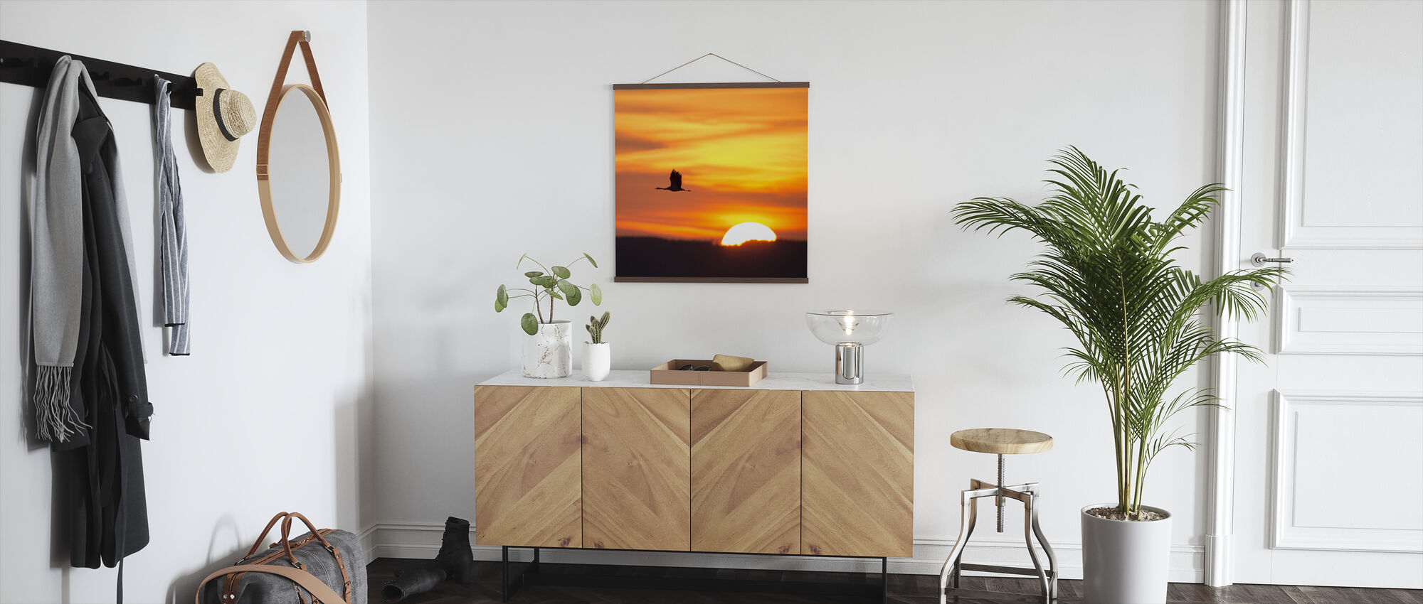 Crane and a Beautiful Sunrise - Poster - Hallway