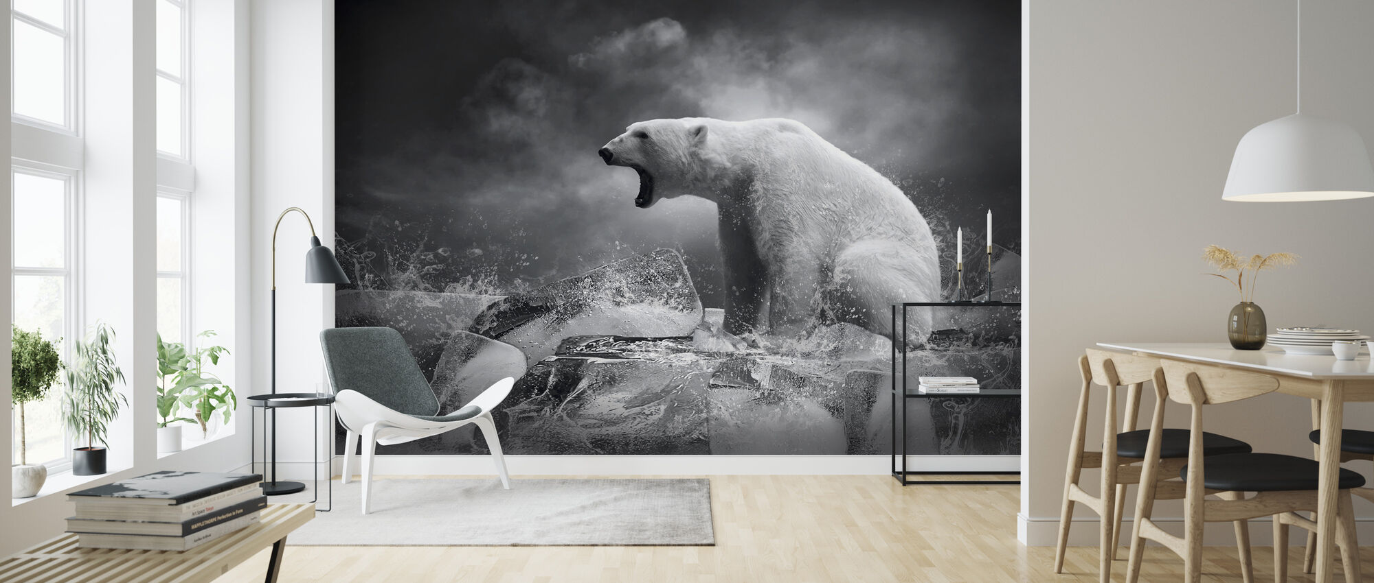 White Polar Bear Hunter - Wallpaper - Living Room