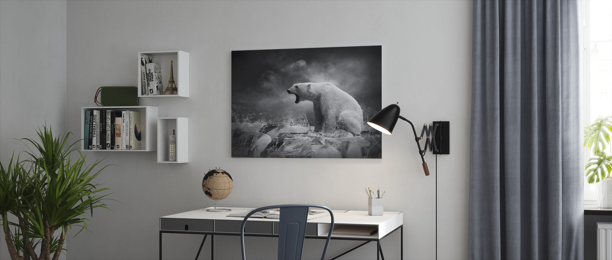 Hvit isbjørn jeger - Lerretsbilde - Kontor