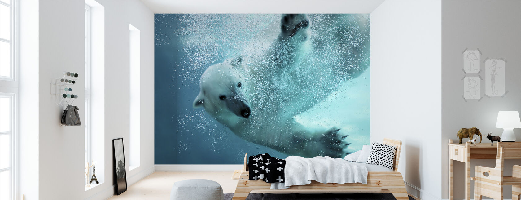 Underwater Polar Bear - Wallpaper - Kids Room