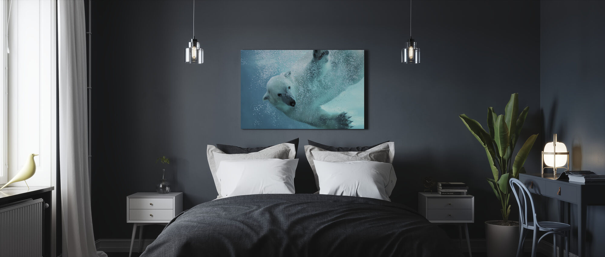 Underwater Polar Bear - Canvas print - Bedroom