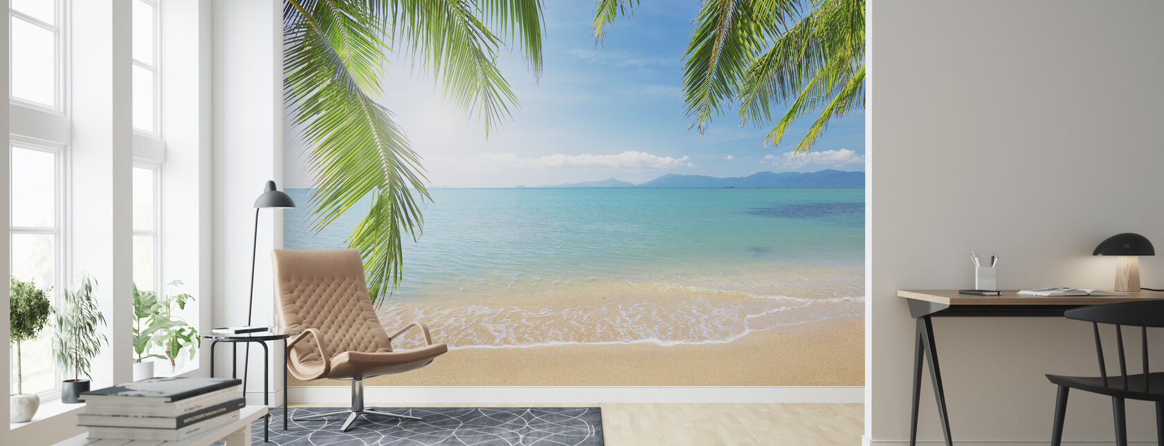 Tropical View from under a Palm Tree - Wallpaper - Living Room