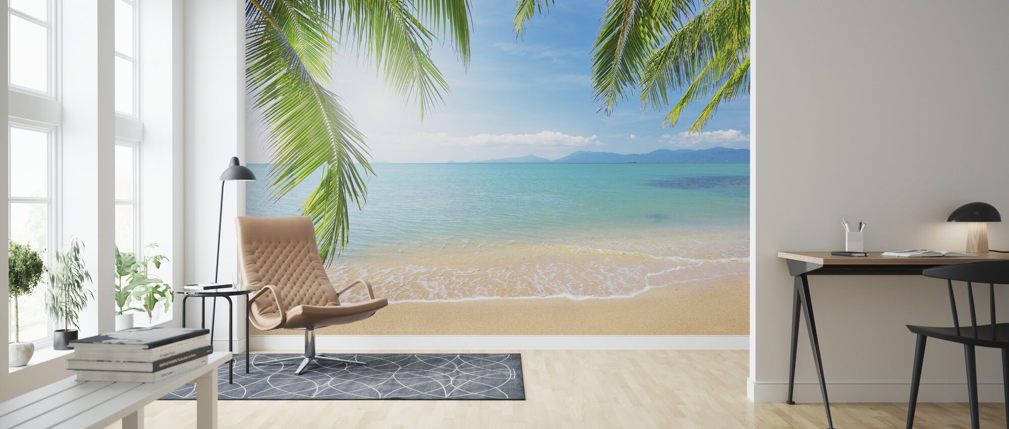 Tropisk utsikt från under ett palmträd - Tapet - Vardagsrum