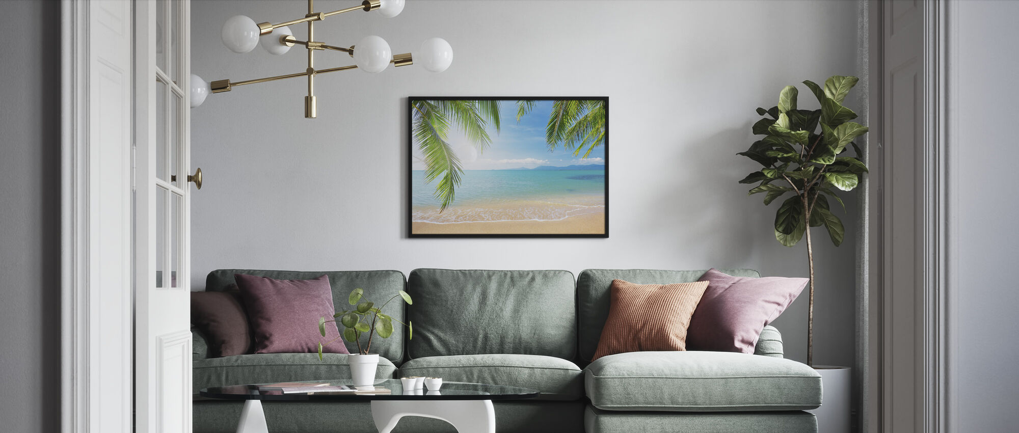 Tropical View from under a Palm Tree - Framed print - Living Room