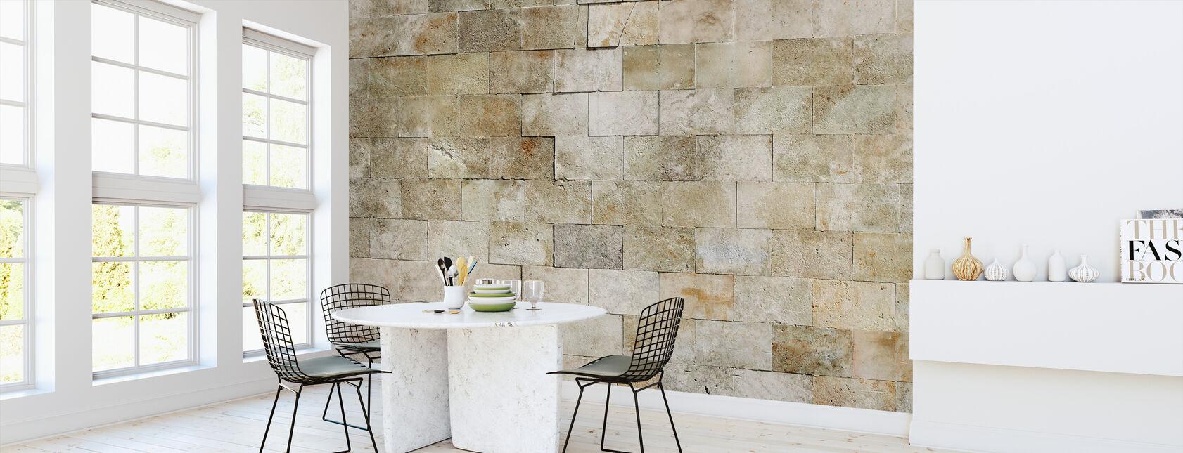 Tiled Stone Wall - Wallpaper - Kitchen