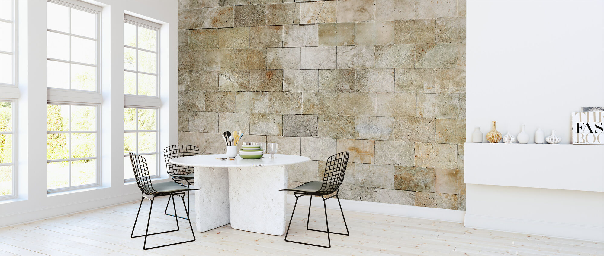 Tiled Stone Wall - Wallpaper - Kitchen