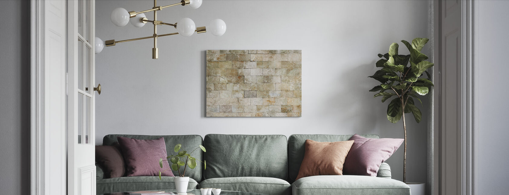 Tiled Stone Wall - Canvas print - Living Room