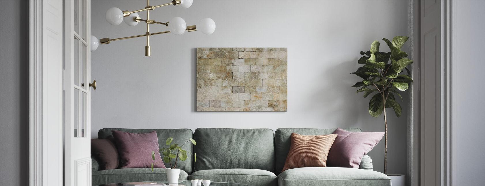 Betegelde Stenen Muur - Canvas print - Woonkamer