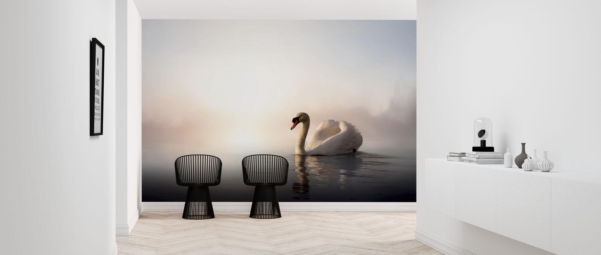 Swan Floating - Wallpaper - Hallway
