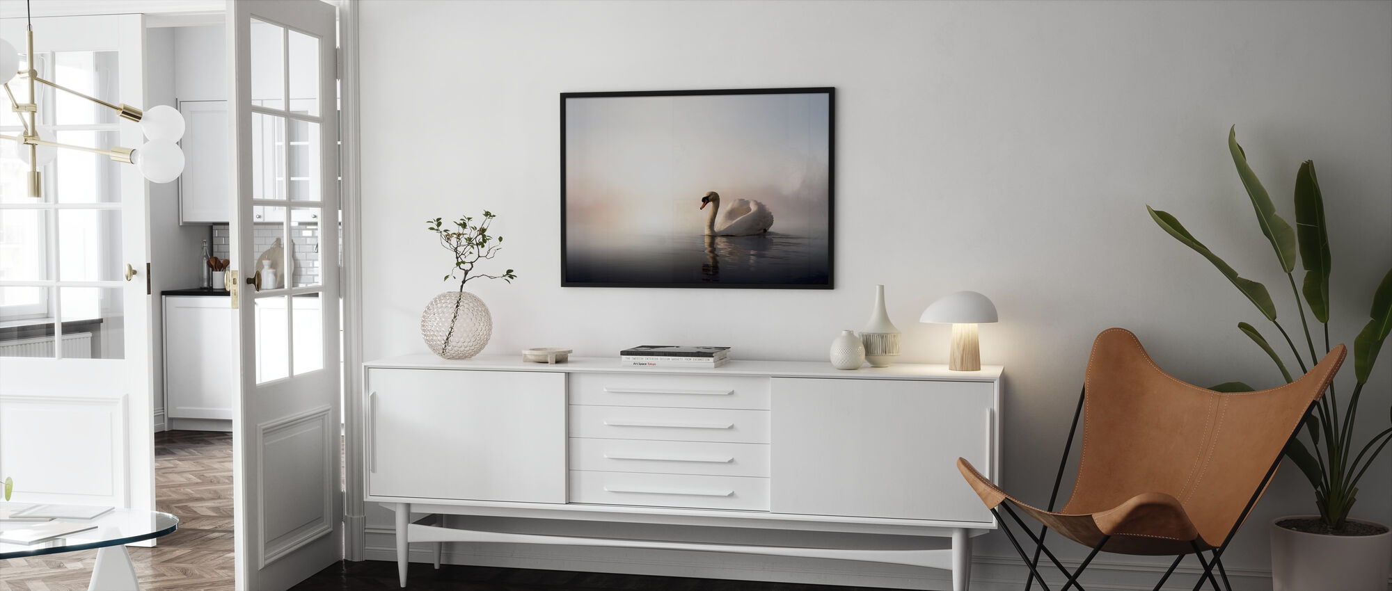 Swan Floating - Framed print - Living Room