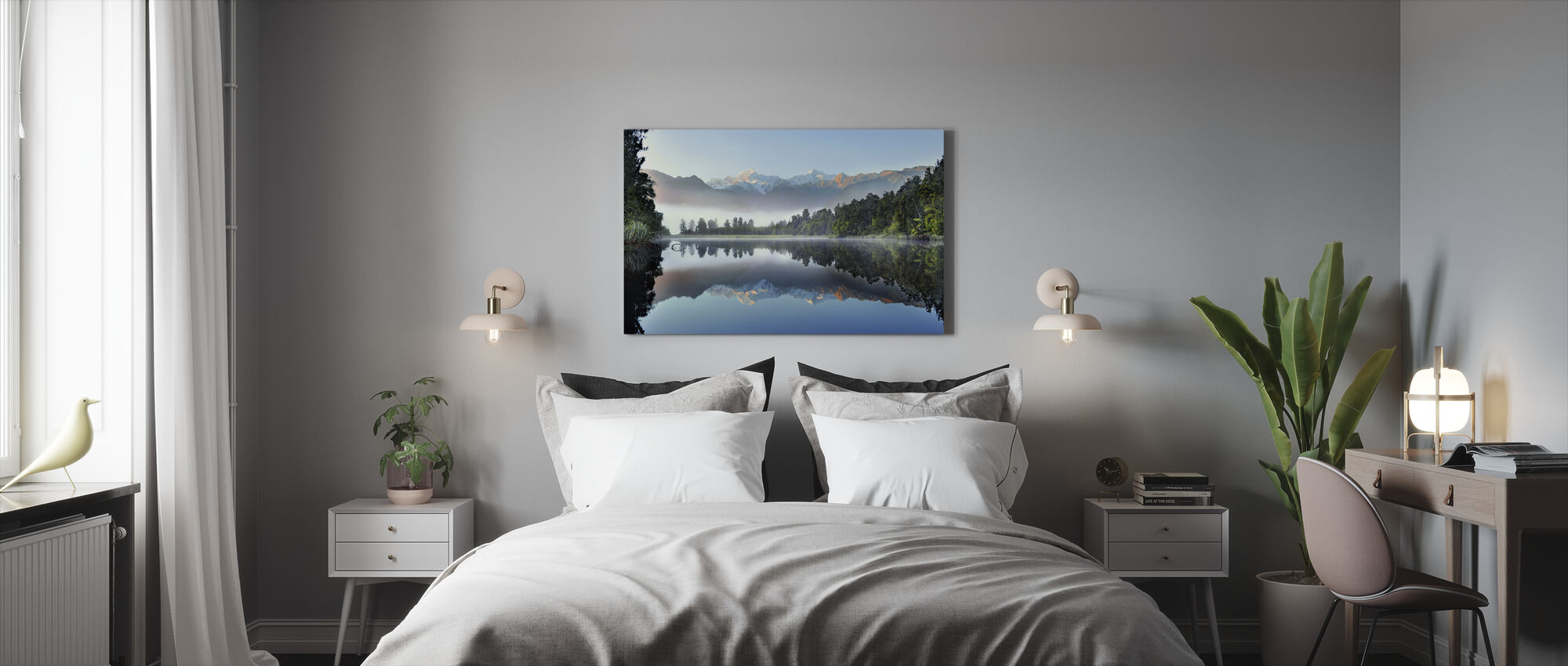 Reflexion des Lake Matheson - Leinwandbild - Schlafzimmer