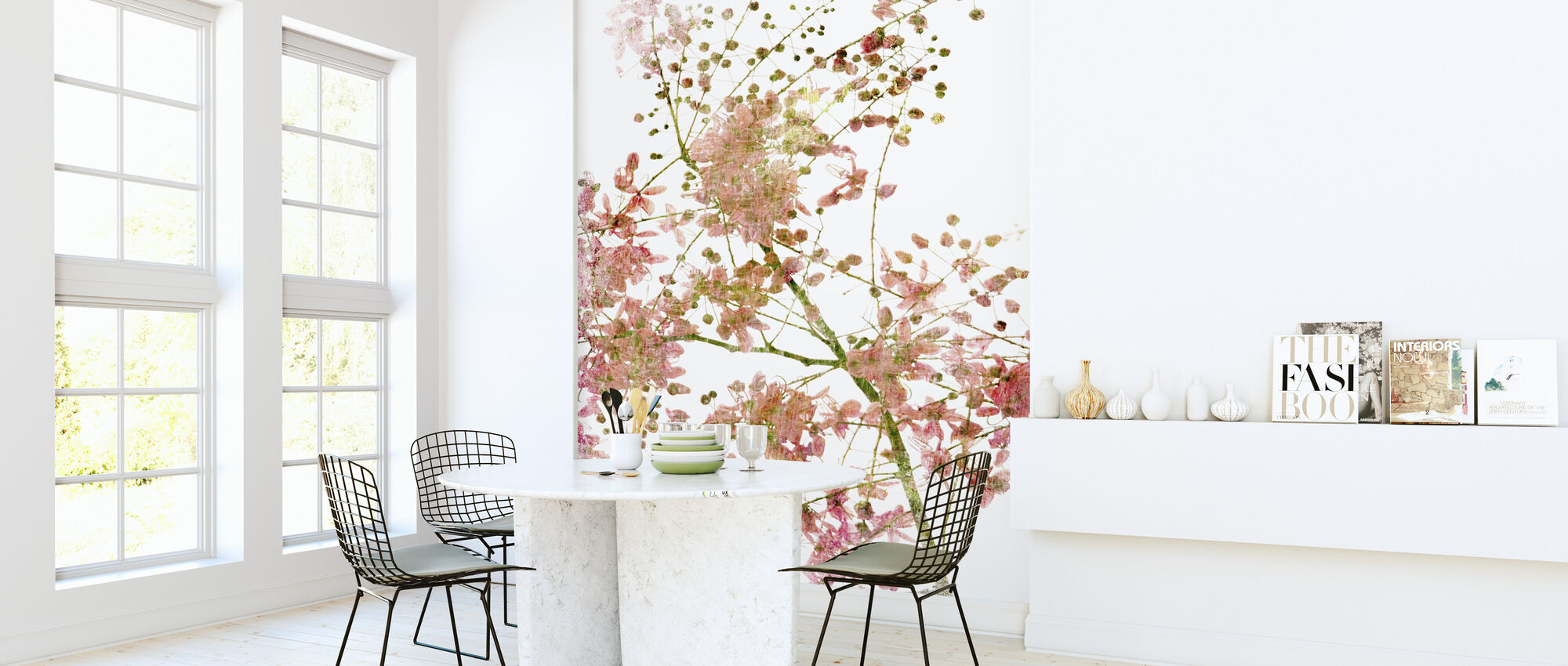 Pink Flower Blossom - Wallpaper - Kitchen