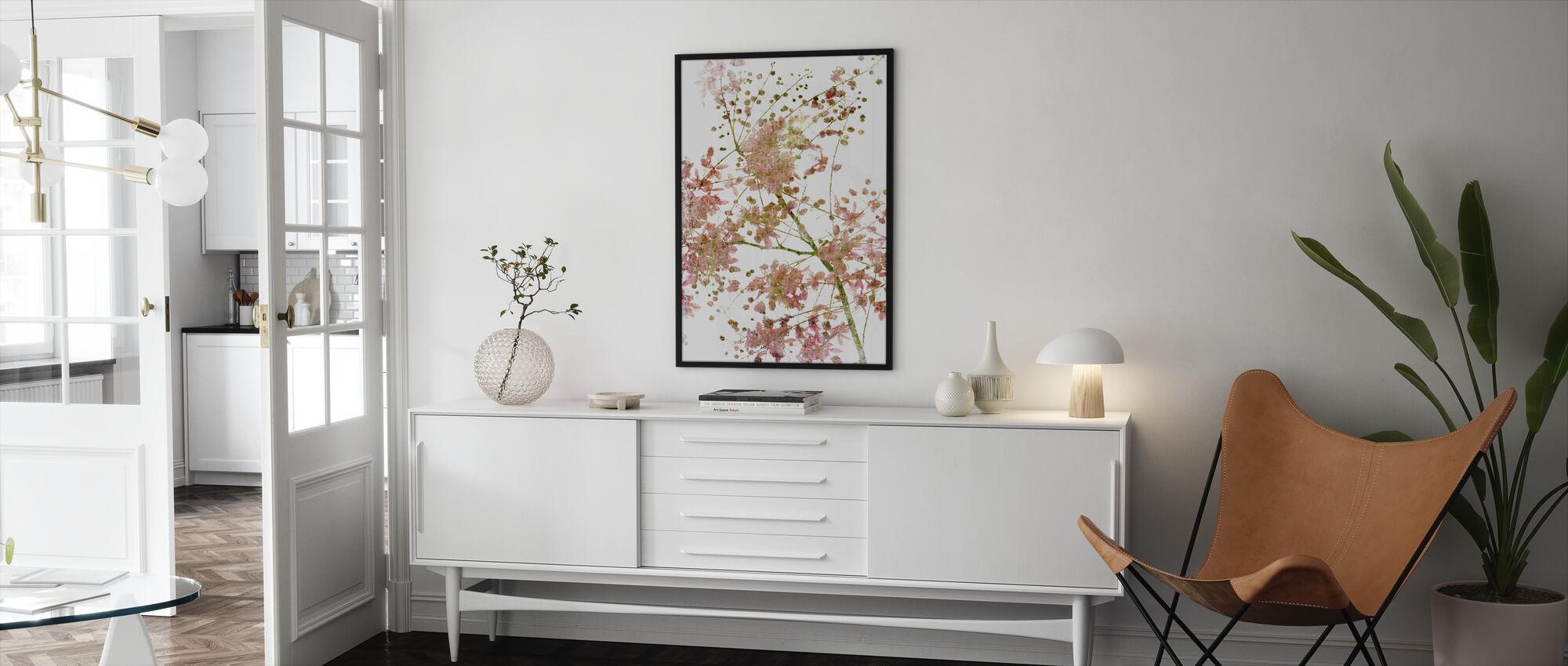 Roze Bloem Bloem - Ingelijste print - Woonkamer