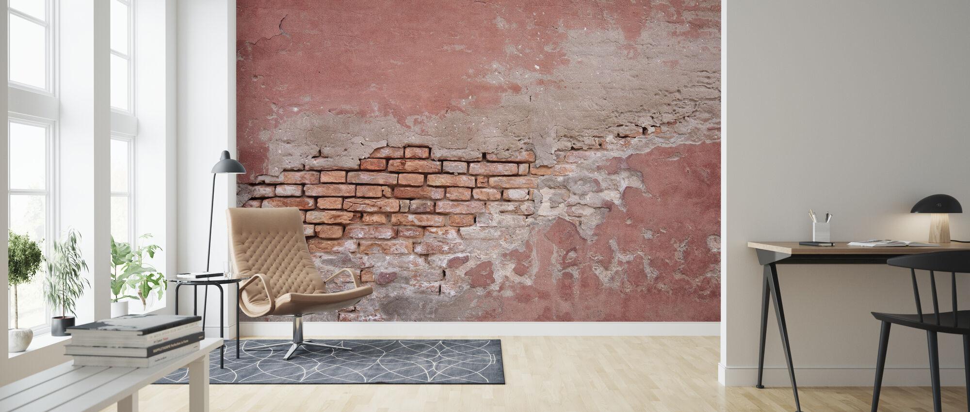 Pink Colored Brick Wall - Wallpaper - Living Room