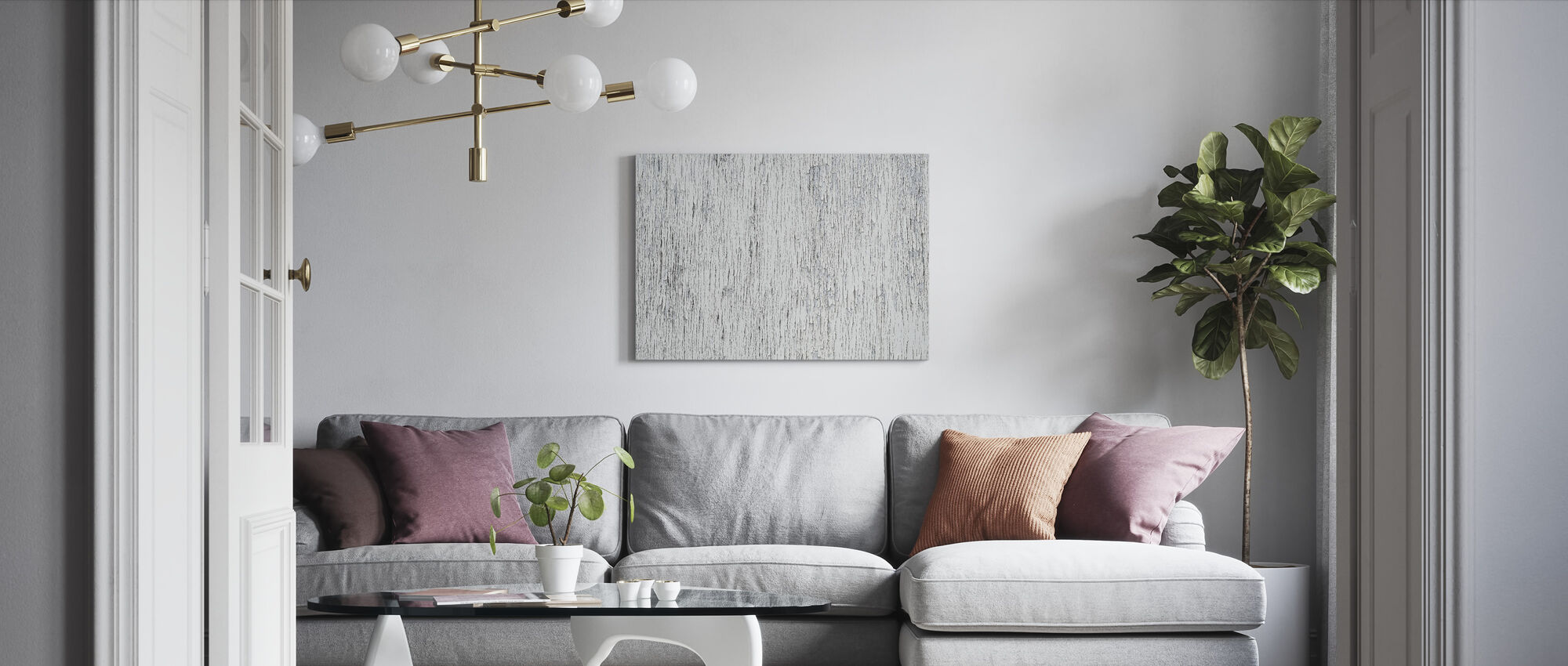 Cracked White Paint - Canvas print - Living Room