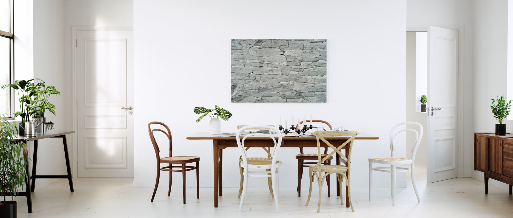 Grijze Steen Patroon - Canvas print - Keuken