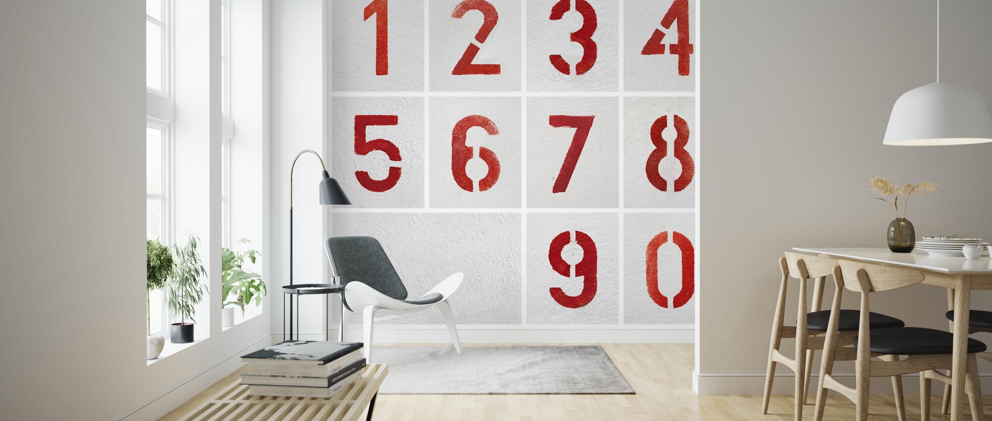 Numbers Painted Stencils - Wallpaper - Living Room